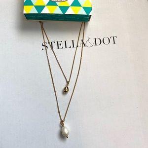 Stella & Dot Delicate Double Pearl Pendant.